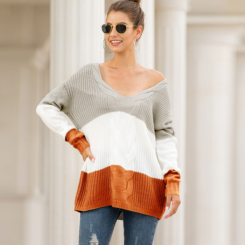 V-Neck Color Block Cable Knit Fisherman Detail Sweater