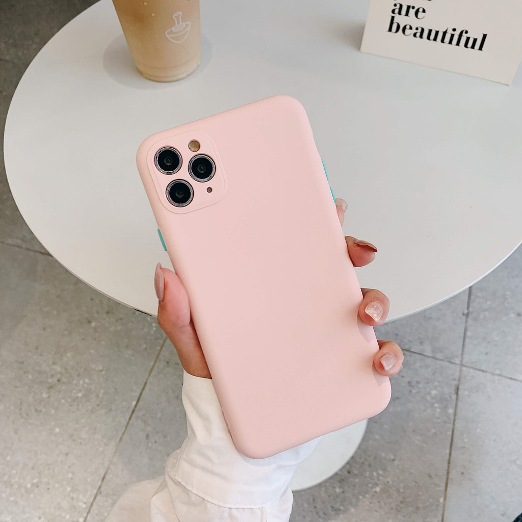 Pale Pink Contrast Button Detail Liquid Silicone iPhone Case