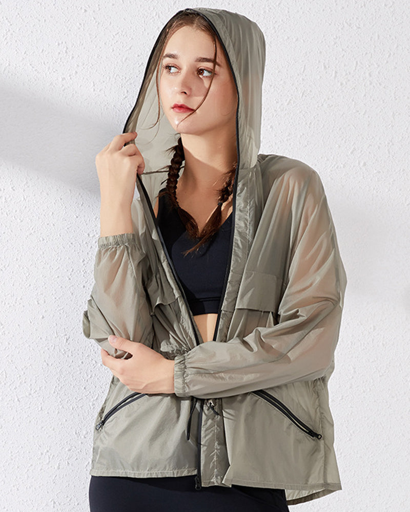 Drawstring Waist Sheer Hooded Sports Jacket