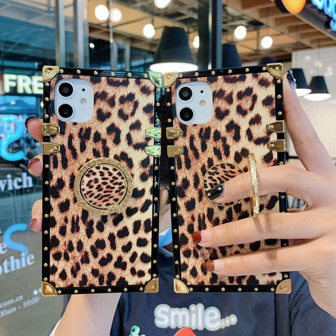 Leopard Print Rivet Deco Square Phone Case for Samsung with Phone Holder gallery 3