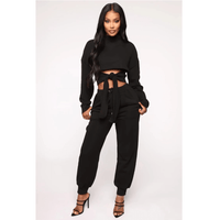 Turtleneck Tie Front Cropped Top & Pant Set