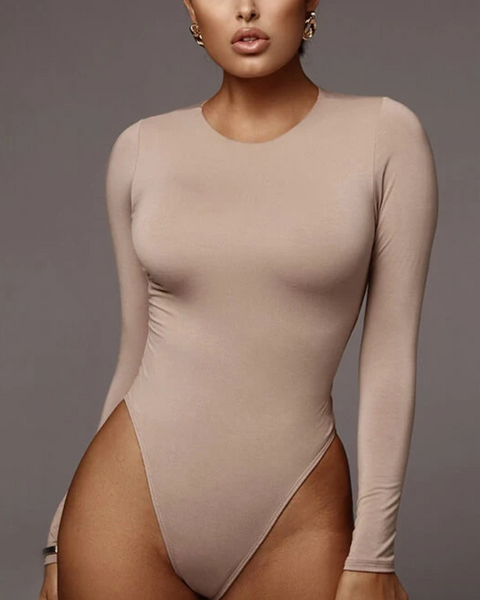 Classic Solid Long Sleeve Round Neck Bodysuit