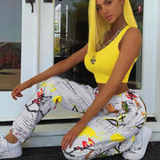 Graffiti Print High Waist Joggers