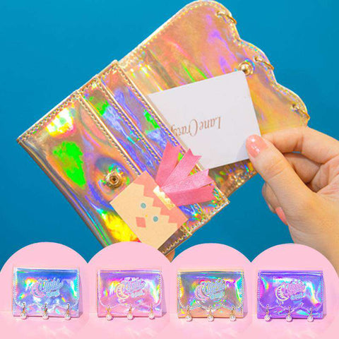 Pearl Decorated Laser Wallet Card Holder Techno Style gallery 4
