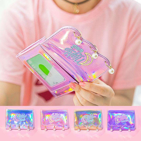 Pearl Decorated Laser Wallet Card Holder Techno Style gallery 1
