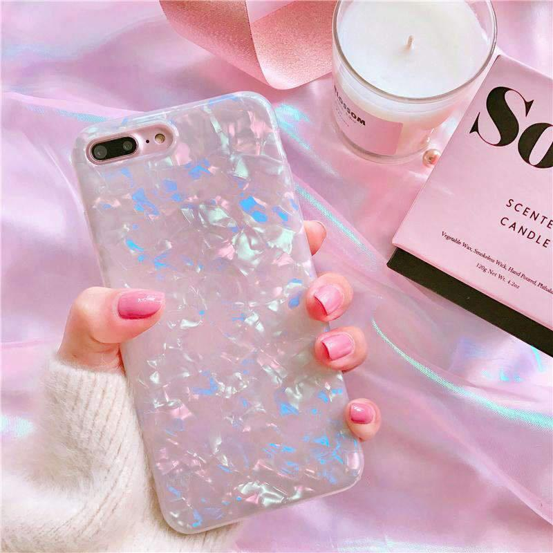 White Shell Glitter Laser iPhone Case