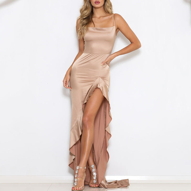 Satin Side Split Frill Hem Maxi Dress