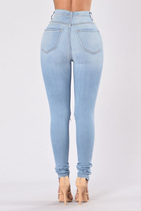 High Waist Knee Ripped Button Up Jeans gallery 10