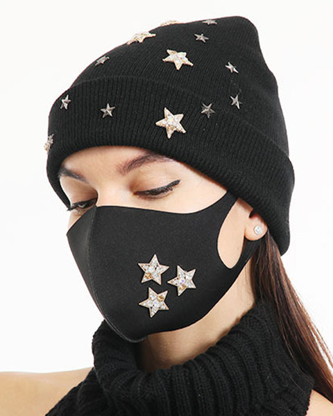 2pcs Rhinestone & Sequin Decor Face Mask & Beanie gallery 8