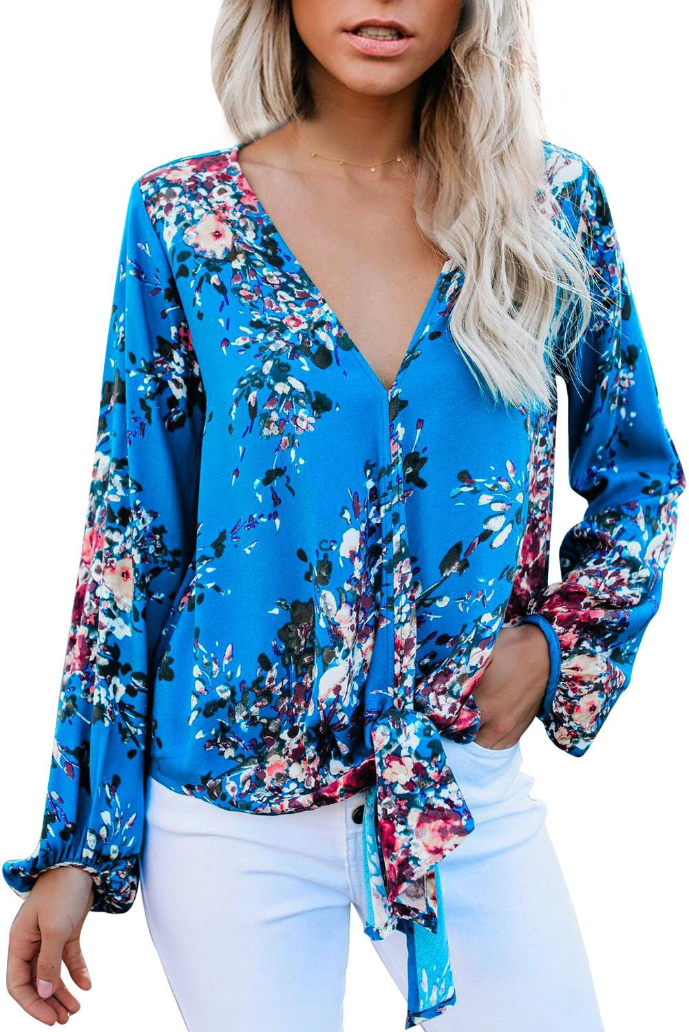 Sky Blue V Neck Long Sleeve Tie Front Blouse