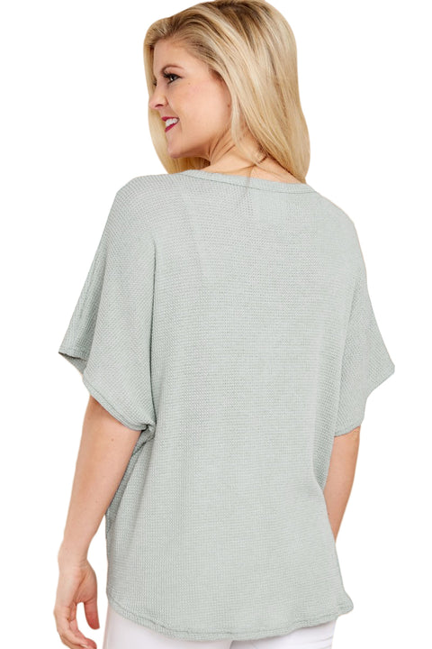 Green Dolman Buttoned Front Top with Tie gallery 2