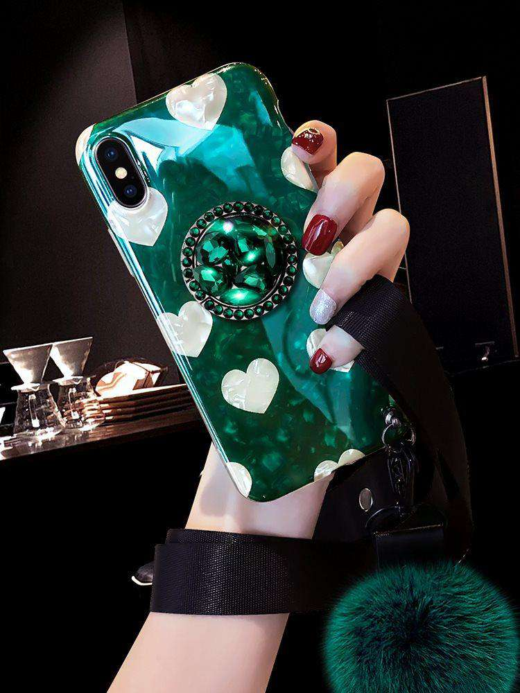 Retro Royal Dark Green iPhone Case With Heart Pattern And Fur Ball And Phone Holder Strings