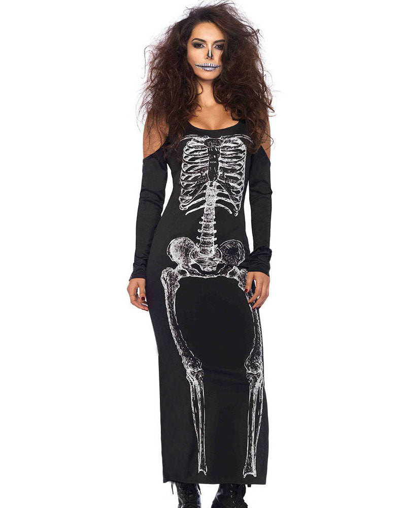 Skeleton Print Cold Shoulder Bodycon Dress