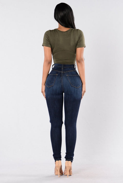 High Waist Knee Ripped Button Up Jeans gallery 3