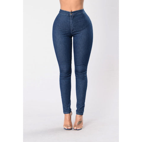 Solid High Waist Butt Lifting Skinny Jeans