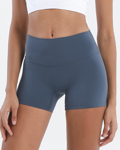 Solid High Waist Sports Shorts gallery 5