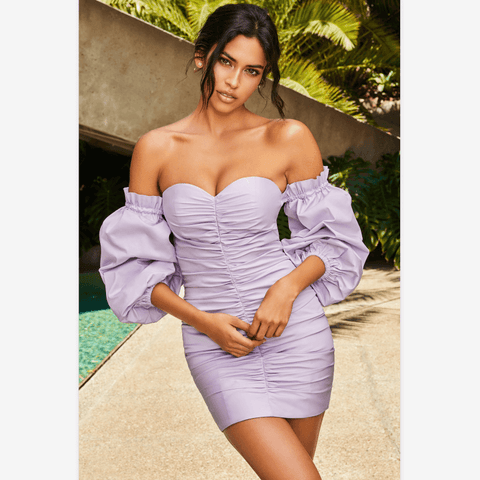 Lilac Off Shoulder Ballon Sleeve Ruched Detail Bodycon Dress