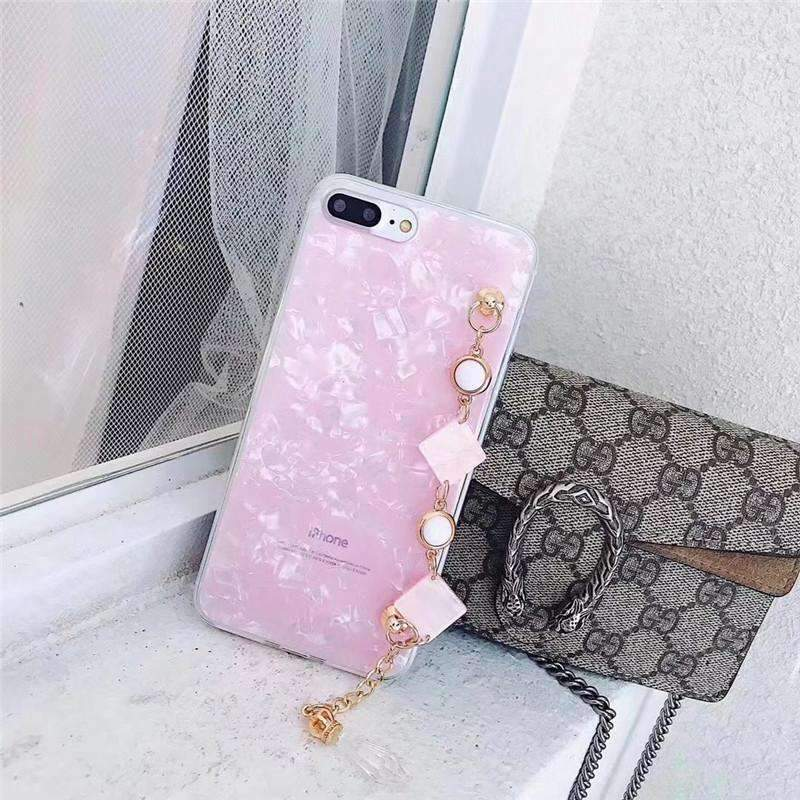 Elegant Shell Pattern iPhone Case with Artificial Rhinestone Diamond Chain