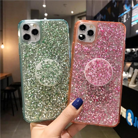Four Colors Glittering Rhinestone Phone Case for Samsung with Phone Holder gallery 1