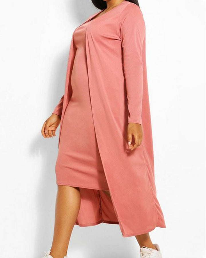Solid Square Neck Dress & Cardigan Set gallery 6