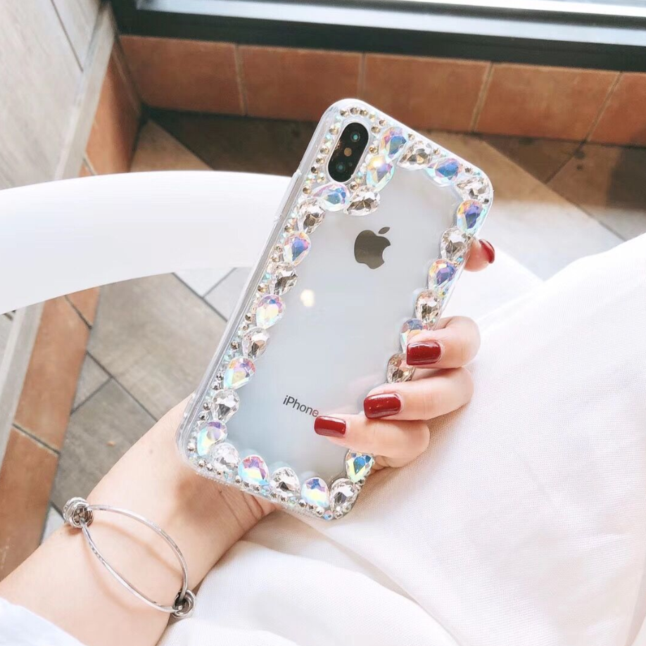 Glittering Rhinestone Side Clear Transparent iPhone Case