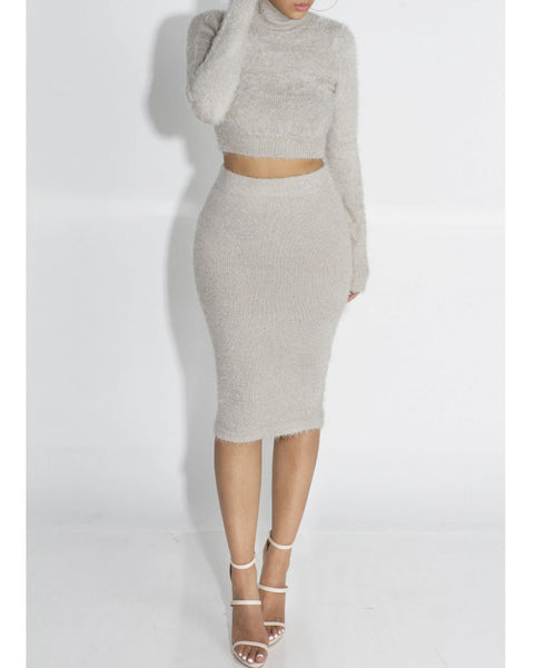 Solid Fluffy Knit Crop Sweater & Skirt Set gallery 2