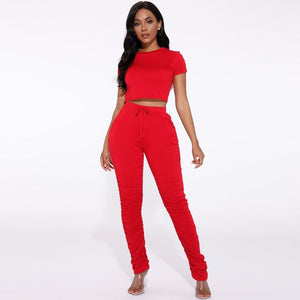 Round Neck Ruched Side Drawstring Waist Top & Pant Set