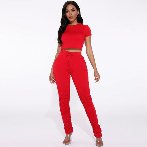 Round Neck Ruched Side Drawstring Waist Top & Pants Set gallery 3