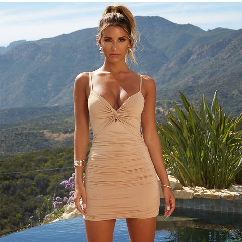 Sexy Ruched Deep-V Cut Front Bodycon Dress gallery 1