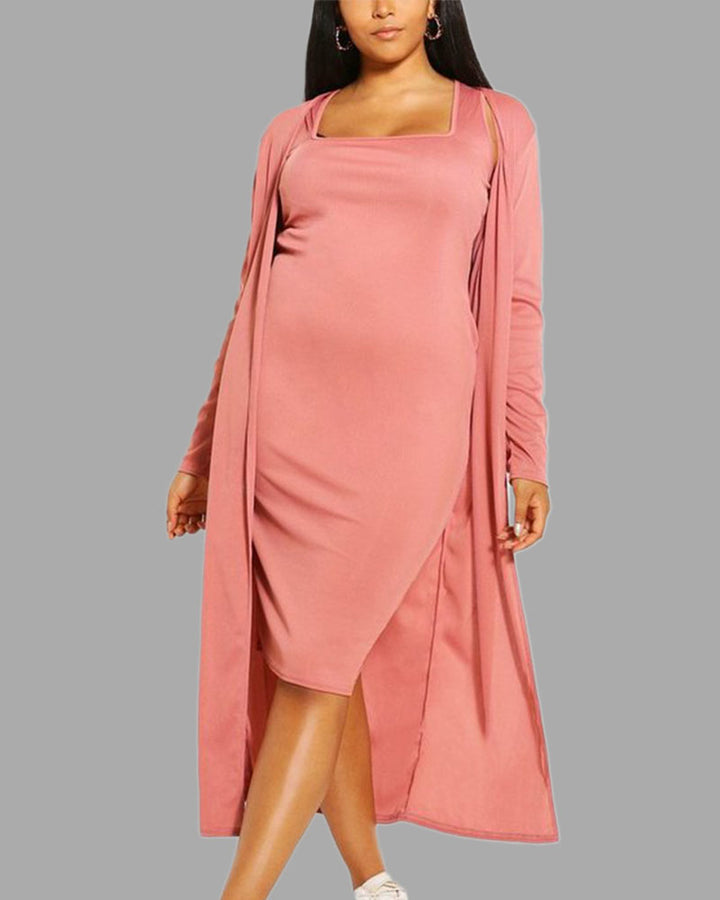 Solid Square Neck Dress & Cardigan Set gallery 1