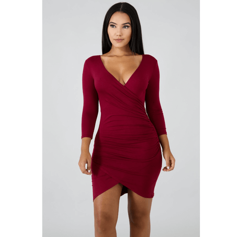 Deep V-Neck Wrap Ruched Irregular Hem Mini Dress