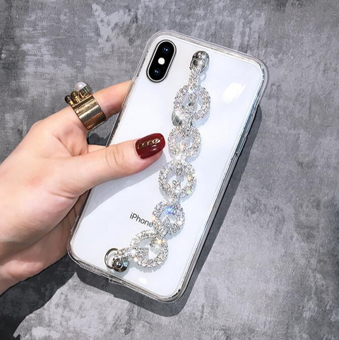Rhinestone Clear Transparent Phone Case for Samsung with Hand Strap gallery 2