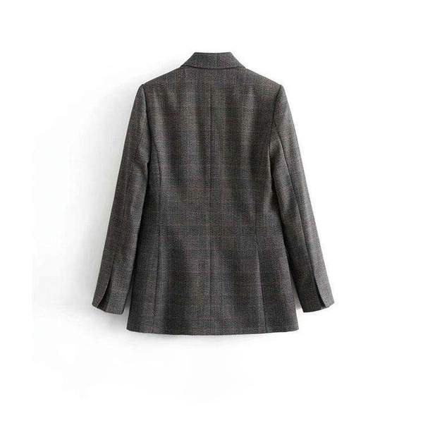 Chequered Double-breasted Jersey Blazer