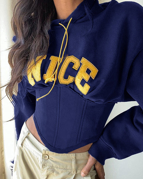 Letter Graphic Crop Drawstring Hoodie With Corset