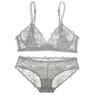 Sexy Sheer Mesh Floral Lace Wireless 3/4 Cup Lingerie Set