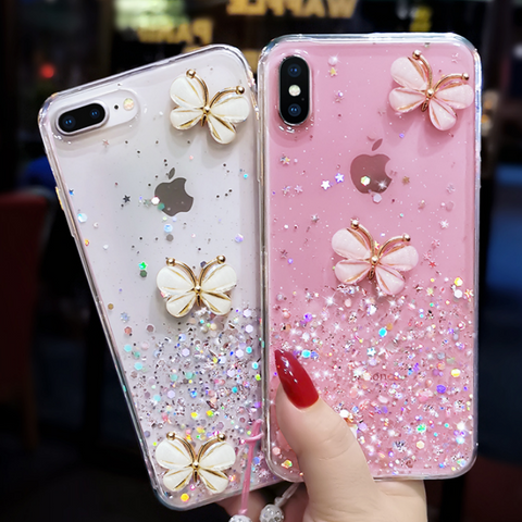 Sparkle Liquid Rhinestone Butterfly Phone Case for Samsung gallery 3