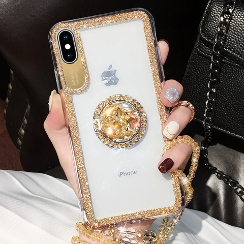Luxury Crystal Stud Edge iPhone Case with Phone Holder and Hand Strap gallery 2