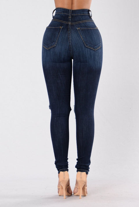 High Waist Knee Ripped Button Up Jeans gallery 5