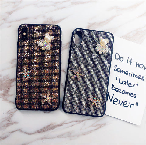 Bear & Starfish Pearl Deco Full Glittering Phone Case for Samsung gallery 12