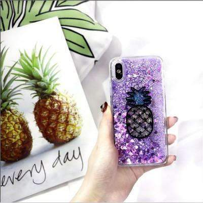 Fresh Pineapple Pattern Liquid Bling Glitter iPhone Case