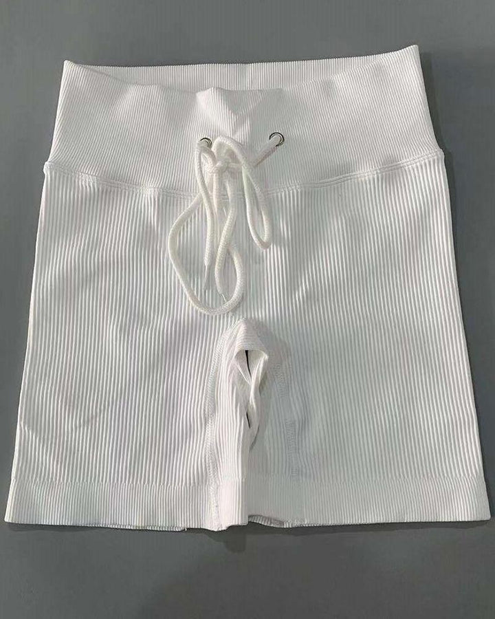 Solid High Waist Drawstring Front Sports Shorts gallery 1