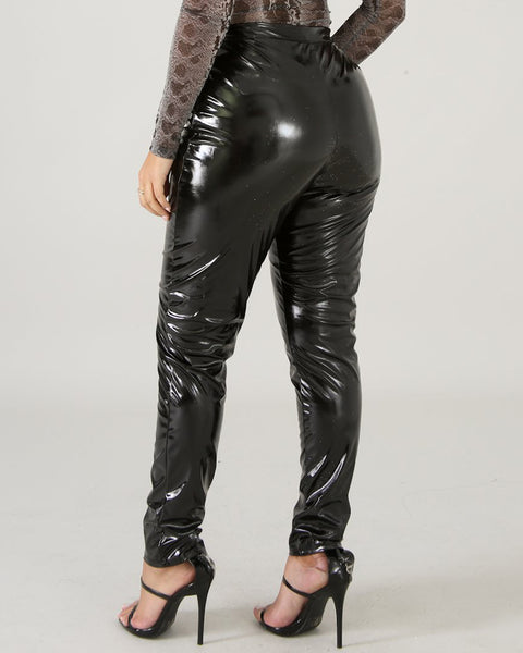 Faux Leather High Waist Thermal Skinny Pants