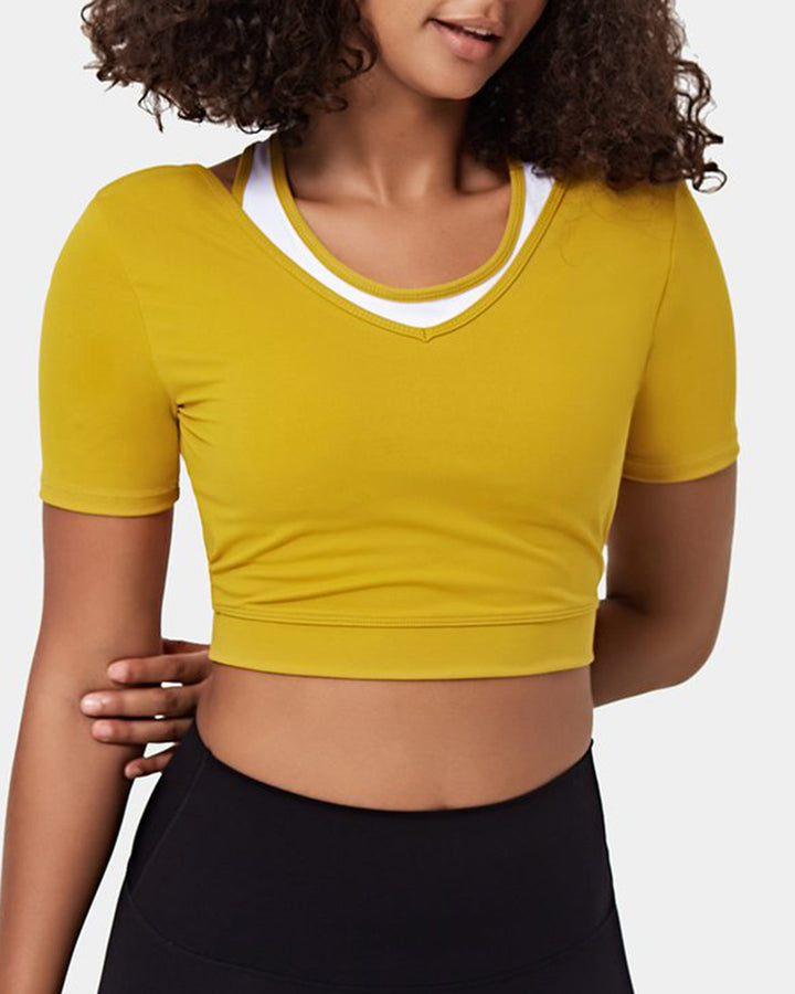 Colorblock Cut Out Bodycon Crop Sports Top gallery 6