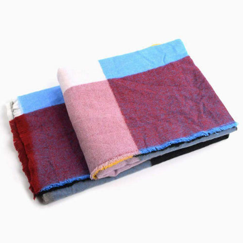Multicolored Oversized Patchwork Scarf With Frayed Edges, Multifuntional Fashionable Winter Check Muffle gallery 2