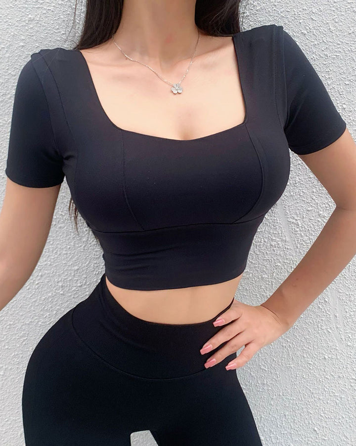 Solid Backless Crop Sports Top gallery 3
