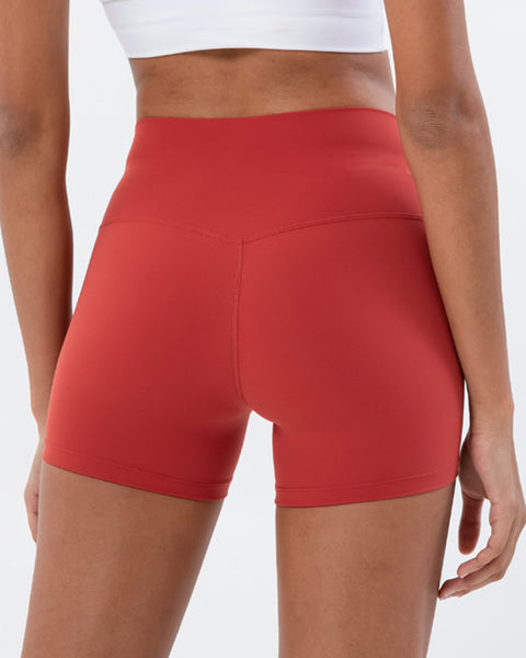 Solid High Waist Sports Shorts gallery 12
