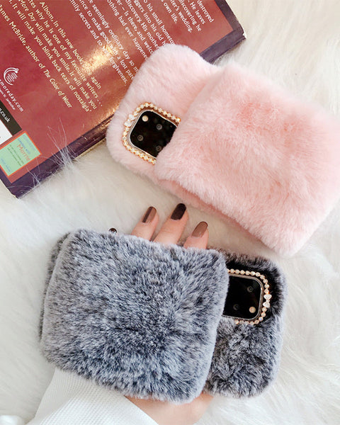 Fluffy Solid Hand Band Flannel iPhone Case