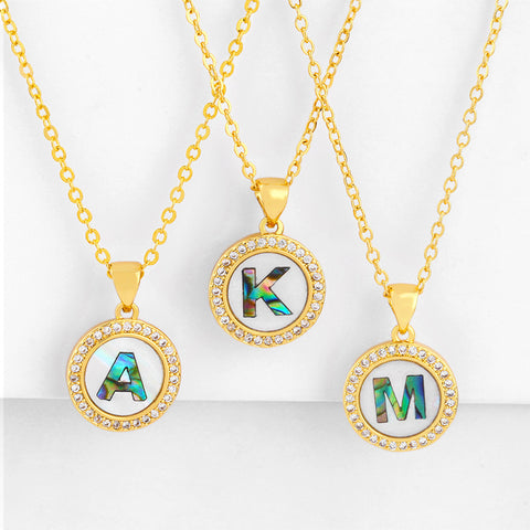 Gold Shell Colored Engravable Initial Diamante Stud Necklace