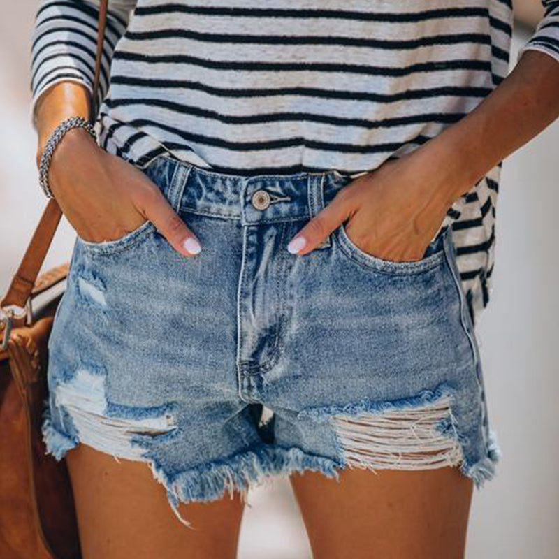 Asymmetric Back Pockets Frayed Hem Distressed Shorts