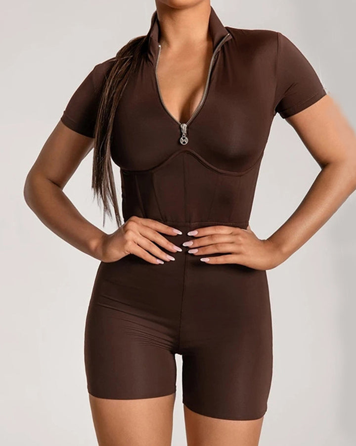 Zip Up Form Fitted Sports Romper gallery 2